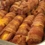 Stuffed bacon wrapped dogs