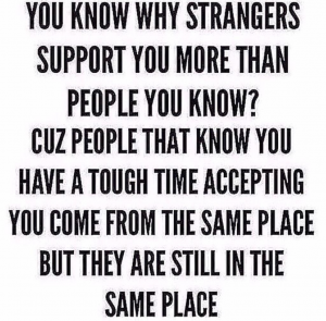 strangers more supportive